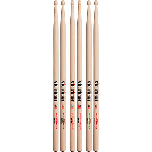Vic Firth 3-Pair American Classic Hickory Drumsticks Wood Classic Metal