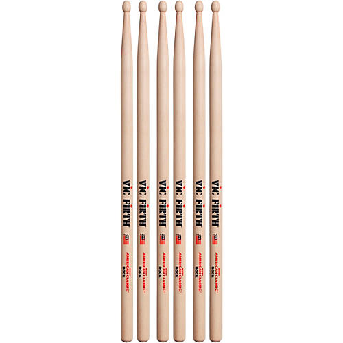 Vic Firth 3-Pair American Classic Hickory Drumsticks Wood Rock