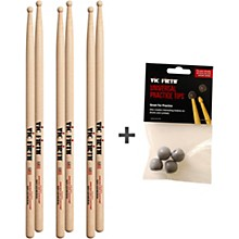 Vic Firth 3 Pairs of SD1 Sticks with Free Universal Practice Tips Wood