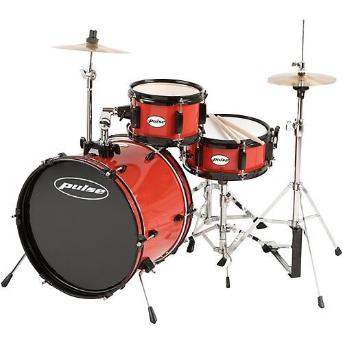 Pulse 3-Piece Deluxe Junior Drum Set Bright Red