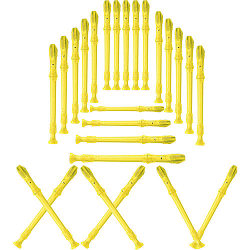 Lyons 3-Piece Recorder Baroque Fingering Transparent Yellow 25-Pack