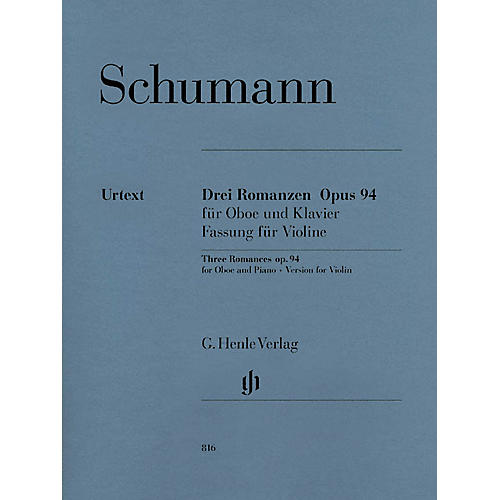 G. Henle Verlag 3 Romances for Oboe and Piano Op. 94 (Version for Violin) Henle Music Folios Series Softcover-thumbnail