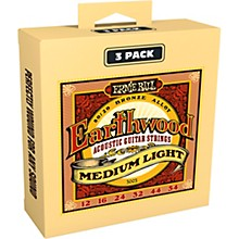 Ernie Ball 3003 Earthwood 80/20 Bronze Medium Light Acoustic Strings 3-Pack