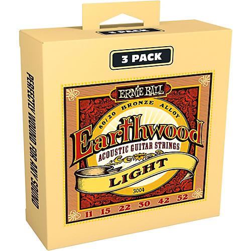 Ernie Ball 3004 Earthwood 80/20 Bronze Light Acoustic Guitar Strings 3-Pack-thumbnail