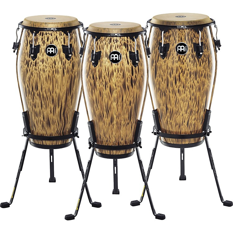 Meinl 30th Anniversary Edition Marathon Classic Series Conga with Steely II Stand Leopard Burl 11 Inch