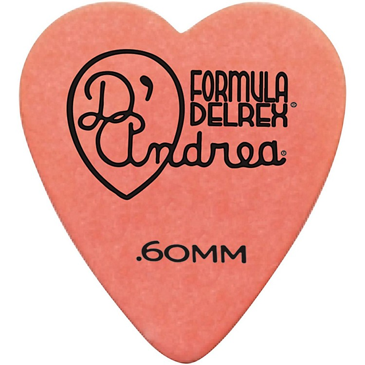 D'Andrea 323 Heart Delrex Delrin Picks One Dozen Orange .60MM