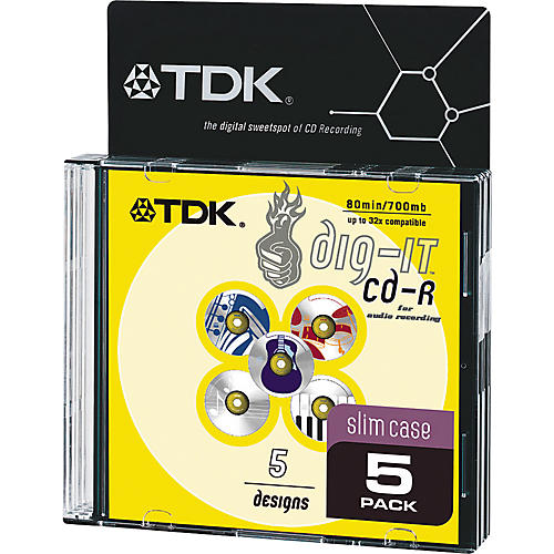 TDK 32X Audio CDR80/5-Pack with Music Theme Artwork