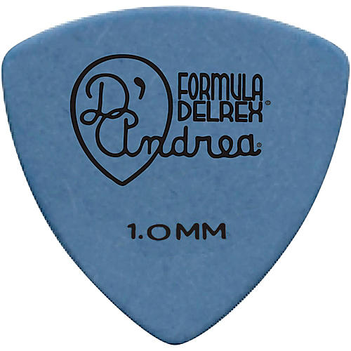 D'Andrea 346 Guitar Picks Rounded Triangle Delrex Delrin - One Dozen Blue 1.0 mm