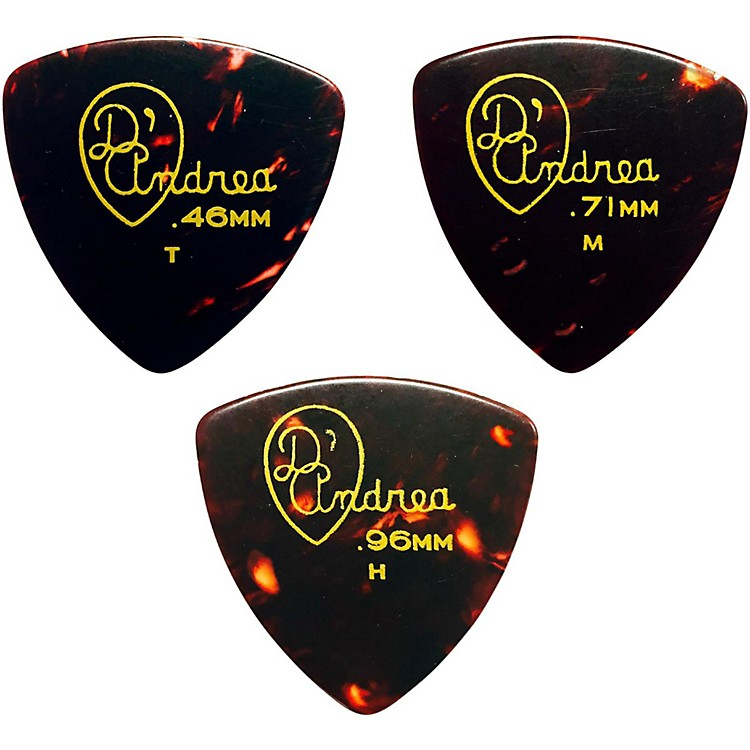 D'Andrea 346 Rounded Triangle Celluloid Guitar Picks One Dozen Shell Medium