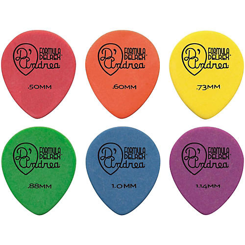 D'Andrea 347 Rounded Teardrop Delrex Delrin Guitar Picks - One Dozen