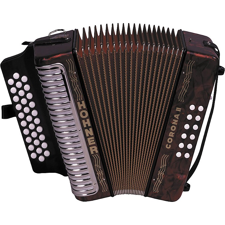 Hohner 3500 Corona II GCF Diatonic Accordion Red Pearl