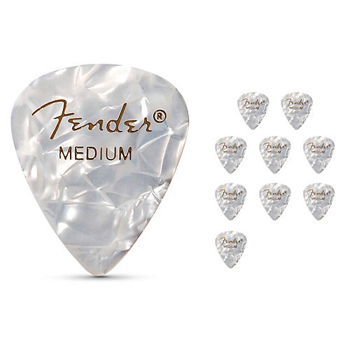Fender 351 Premium Celluloid Guitar Picks  (12-Pack) Ocean Turquoise Medium White Moto Medium