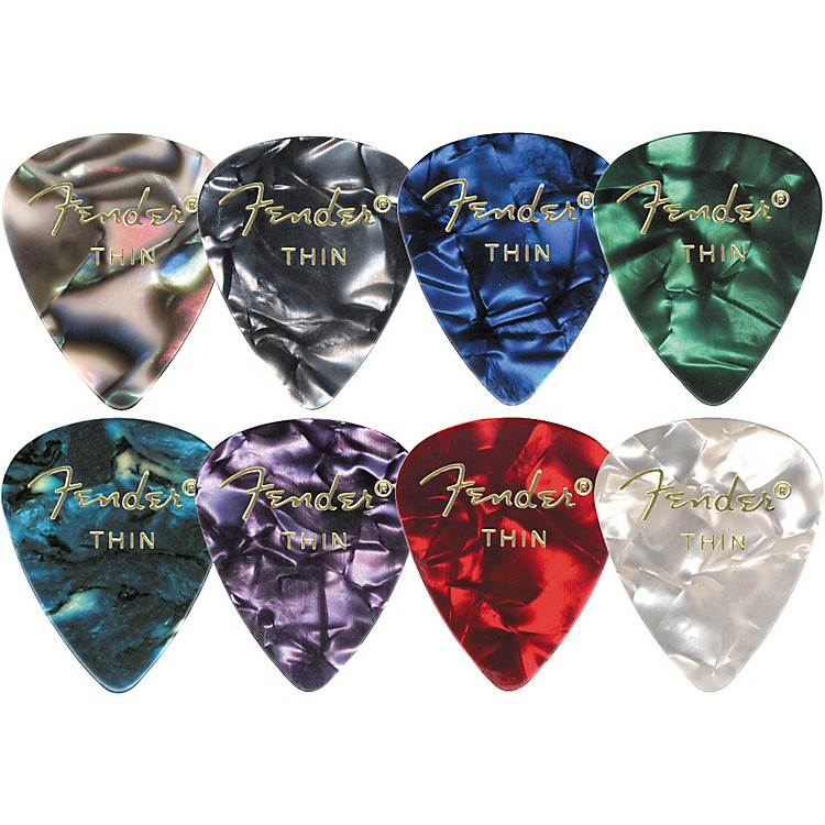 Fender 351 Premium Celluloid Guitar Picks Green Moto Medium