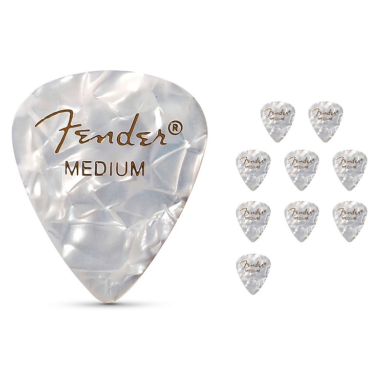 Fender 351 Premium Celluloid Guitar Picks White Moto Medium