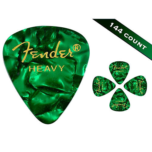 Fender 351 Premium Heavy Guitar Picks - 144 Count Green Moto
