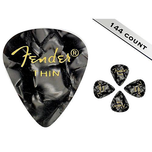 Fender 351 Premium Thin Guitar Picks - 144 Count Black Moto