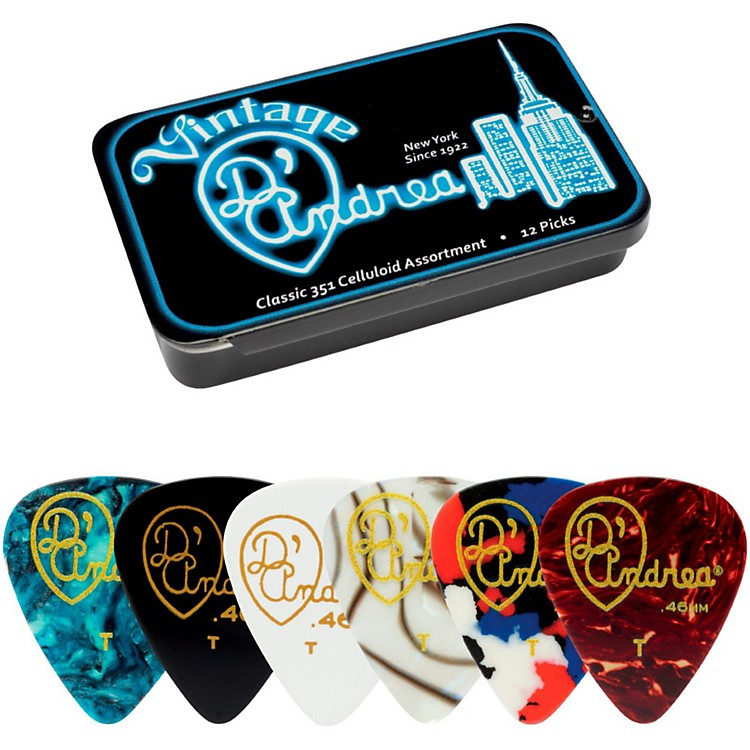 D'Andrea 351 Vintage Classic Celluloid Picks - Assorted Colors - 1 Dozen in Tin Container Thin
