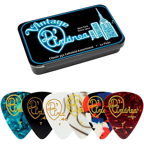 D'Andrea 351 Vintage Classic Celluloid Picks - Assorted Colors - 1 Dozen in Tin Container