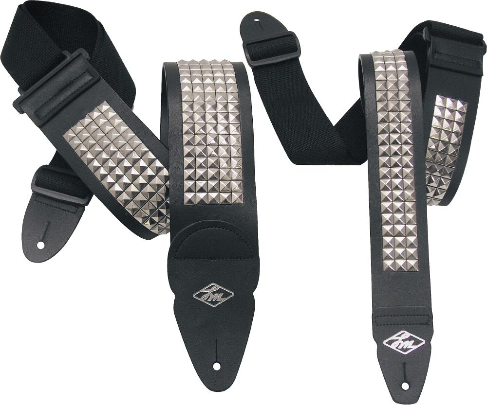 lm products studded leather guitar strap black 3 in ebay. Black Bedroom Furniture Sets. Home Design Ideas