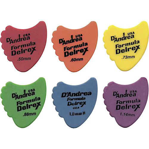 D'Andrea 390 Sharkfin Delrex Delrin Guitar Picks - One Dozen Yellow .73 mm
