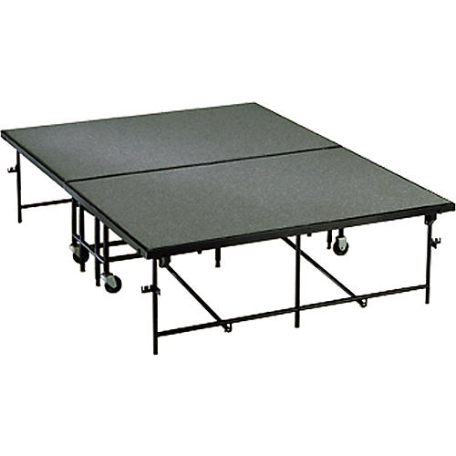 Midwest Folding Products 4' Deep x 8' Wide Mobile Stage 24 Inch High Carpeted Deck