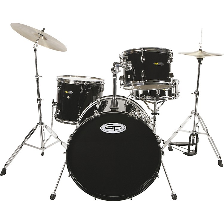 Sound Percussion 4-Piece Drum Set with Cymbals Black