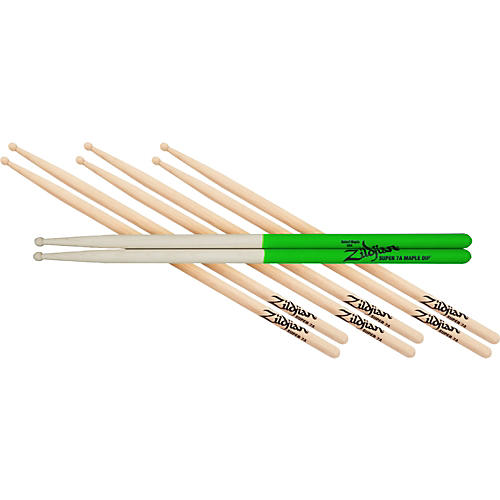 Zildjian 4 for 3 Super 7AW and S7A Maple Green Dip Drumsticks