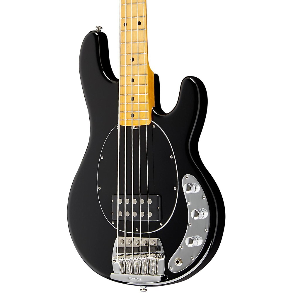 Music Man Classic Stingray 5 Electric Bass Guitar Black Maple Fretboard with Birdseye Maple Neck