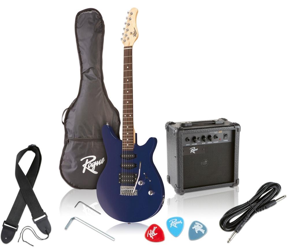 rogue rocketeer electric guitar pack blue 656238012874 ebay. Black Bedroom Furniture Sets. Home Design Ideas