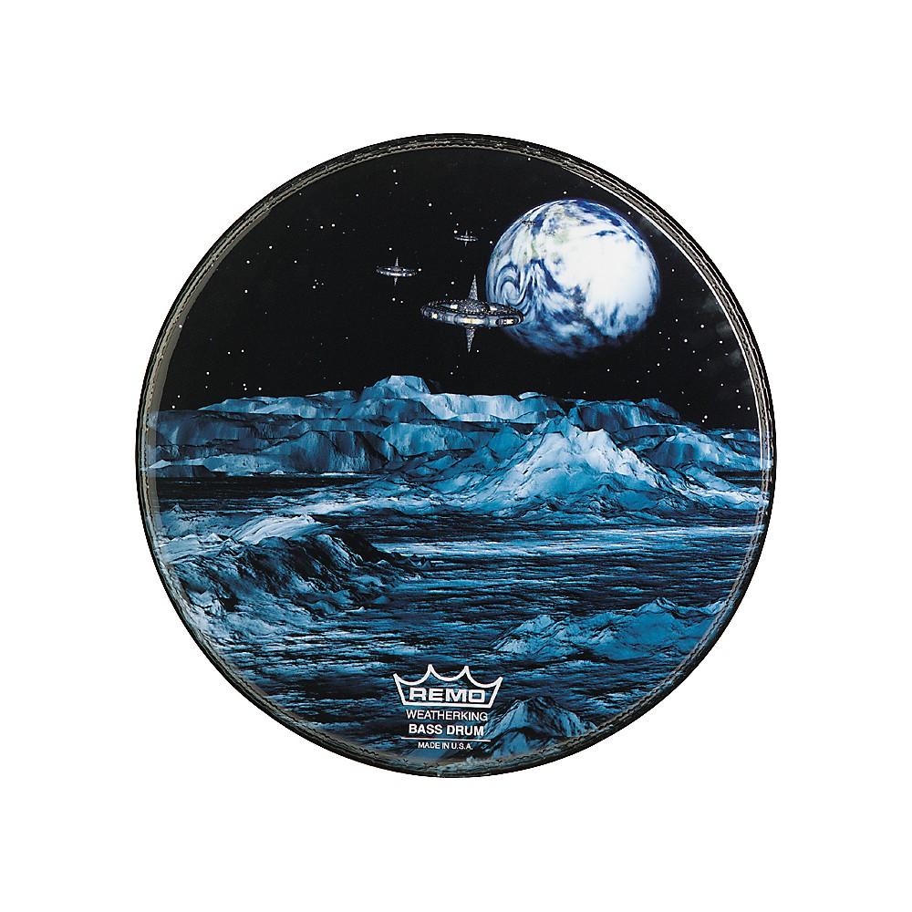 remo custom graphic blue moon resonant bass drum head 18 in ebay. Black Bedroom Furniture Sets. Home Design Ideas