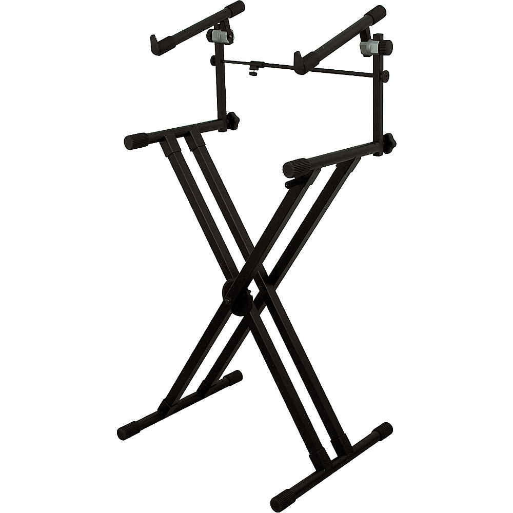 on stage stands deluxe heavy duty x 2 tier keyboard stand. Black Bedroom Furniture Sets. Home Design Ideas
