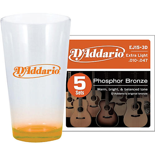 D'Addario 5-Pack EJ15 with Pint Glass