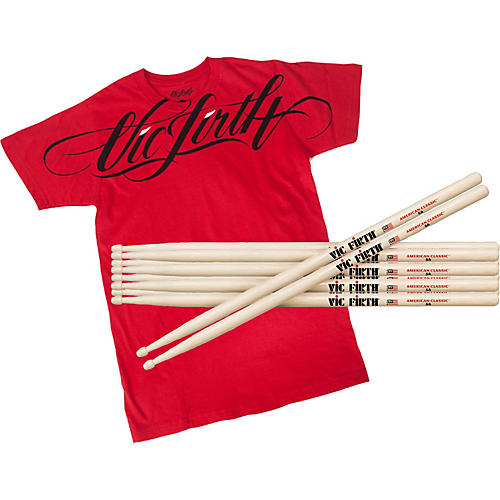Vic Firth 5 Pairs of American Classic Hickory 5A Drumstick with Free T-Shirt