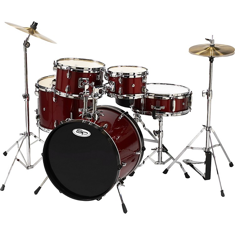 Sound Percussion 5-Piece Junior Drum Set with Cymbals Wine Red