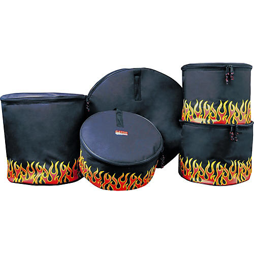Gator 5-Piece Padded Standard Bag Set with Flames-thumbnail
