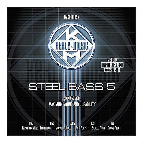 Kerly Music 5-String Bass Strings - Stainless Steel Medium