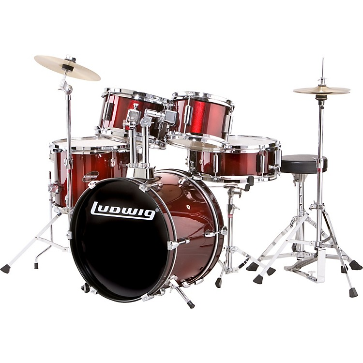 ludwig 5 piece junior drum set with cymbals musician 39 s friend. Black Bedroom Furniture Sets. Home Design Ideas