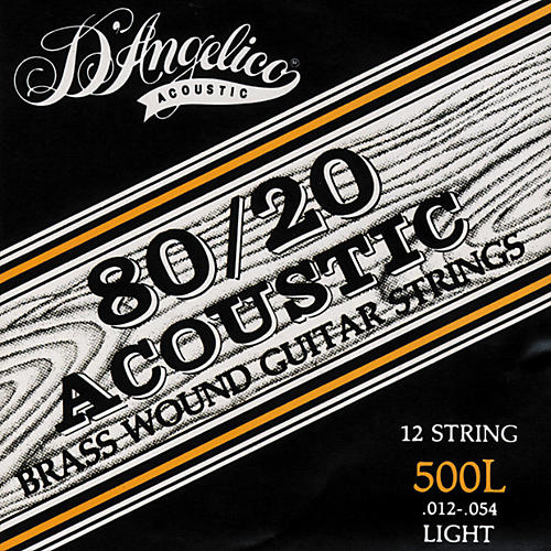 D'Angelico 500L 80/20 Brasswound Light Acoustic 12-String Guitar Strings-thumbnail
