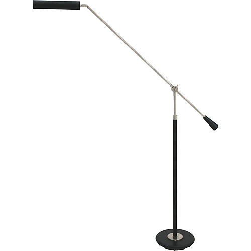 House of Troy 527 Black Piano Floor Lamp with Satin Nickel Boom-thumbnail