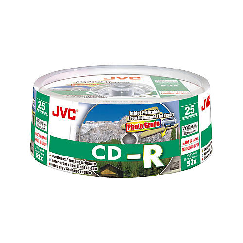 JVC 52X CD-R Photo-Grade White Water Resistant Inkjet 25-Pack