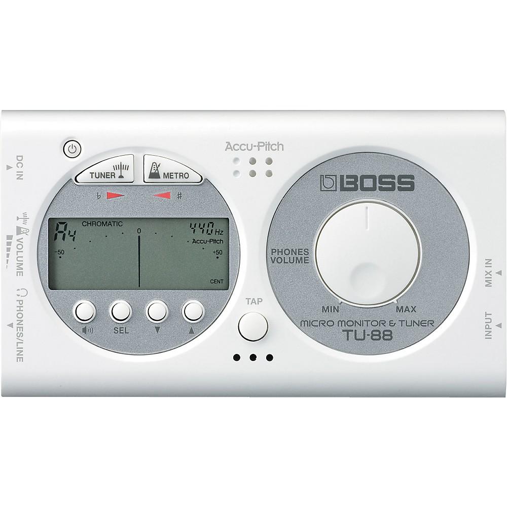 Boss TU-88 Micro Monitor & Tuner for Guitar & Bass WHITE