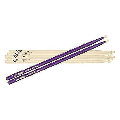 Vater 5B Hickory Wood-Tip Drumstick 3-Pack with Free Color Wrap Pair
