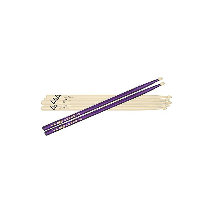 Vater 5B Hickory Wood-Tip Drumstick 3-Pack with Free Color Wrap Pair Black Optic 5B