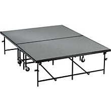 Midwest Folding Products 6' Deep X 8' Wide  Mobile Stage 16 Inch High Pewter Gray Carpeted Deck