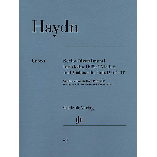 G. Henle Verlag 6 Divertimenti Hob.IV:6-11 (String Trio) Henle Music Folios Series Softcover Composed by Joseph Haydn-thumbnail
