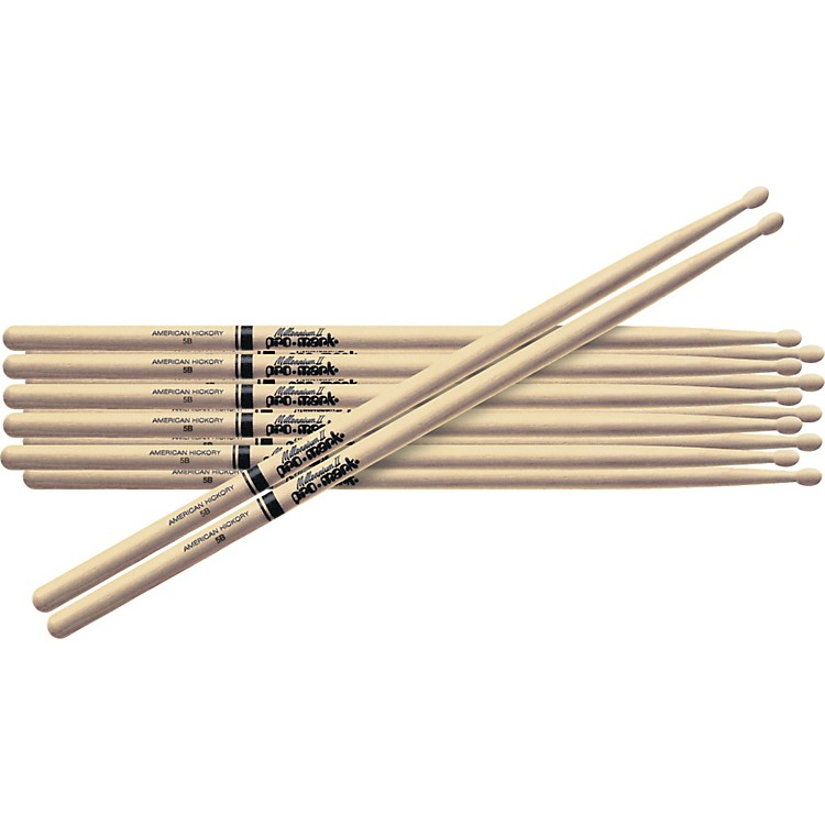 PROMARK 6-Pair American Hickory Drumsticks Wood 5B