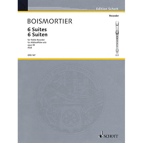 Schott 6 Suites Op. 35 (for Treble Recorder) Schott Series