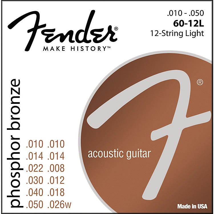Fender 60-12L Phosphor Bronze 12-String Acoustic Strings - Light