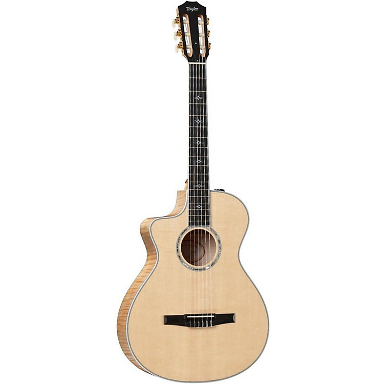 Taylor 612ce-N-L Maple/Spruce Nylon String Grand Concert Left-Handed Acoustic-Electric Guitar Natural