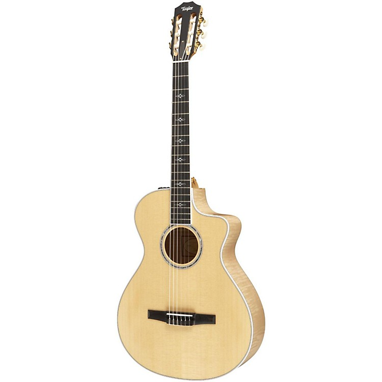 Taylor 612ce-N Maple/Spruce Nylon String Grand Concert Acoustic-Electric Guitar Natural